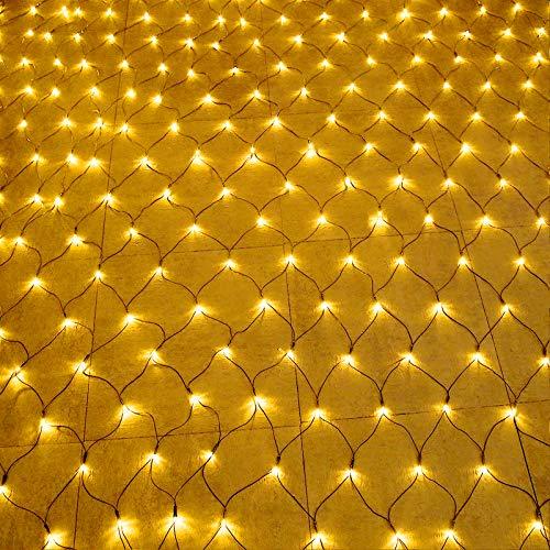 Aufun LED Lichternetz 3x2m 320LEDs Lichterkette Lichterkettennetz 8Modi Lichtervorhang mit Stecker für Halloween Weihnachten Hochzeit Party Innen und Außen Dekoration, Anschließbar, Warmweiß