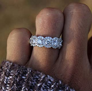 Finemall Fashion Ring Women 925 Silver Princess Cut White Topaz CZ Engagement Ring Engagement Wedding Band Ring for Women ...
