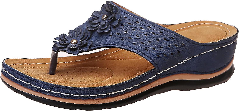 Sandals for Women Casual Wedges Slide Sandals for Women T Strap Flip Flops Sandals Herringbone Slippers Flower Muffin Bottom Leisure Home Sandals