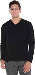 Men's Designer T-Shirt Lightweight Semi Fit Long Sleeve V-Neck 100% Organic Cotton Pre-Shrunk Embroidered - Made in USA