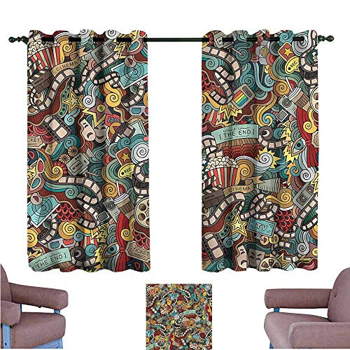 Mannwarehouse Doodle Novel Curtains Cinema Items Popcorn Home Garden Bedroom...