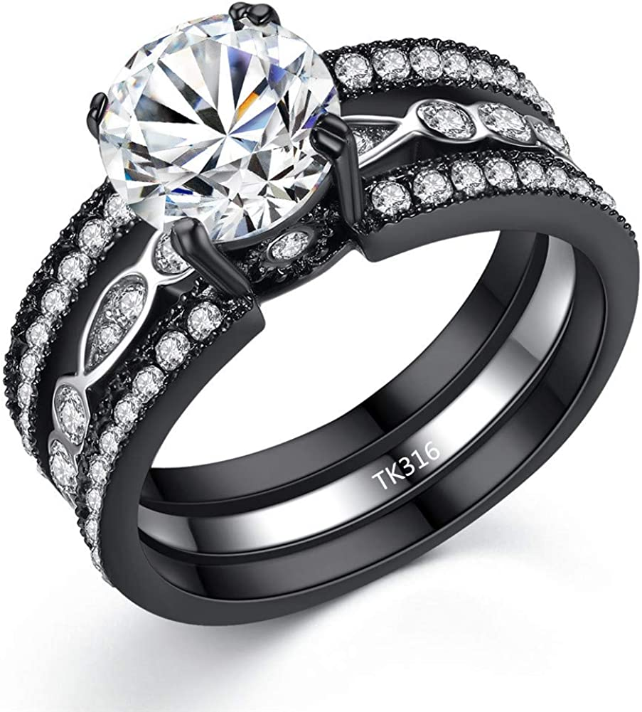 MABELLA CZ Black Wedding Band Engagement Ring Sets Stainless Steel Round Cut Cubic Zirconia Rings for Women