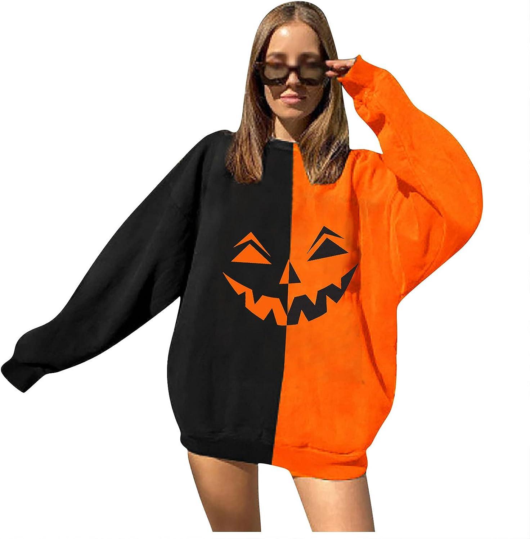 Rare Our shop OFFers the best service Women Halloween Horror 3D Pumpkin Long Party Pullov Sleeve Print