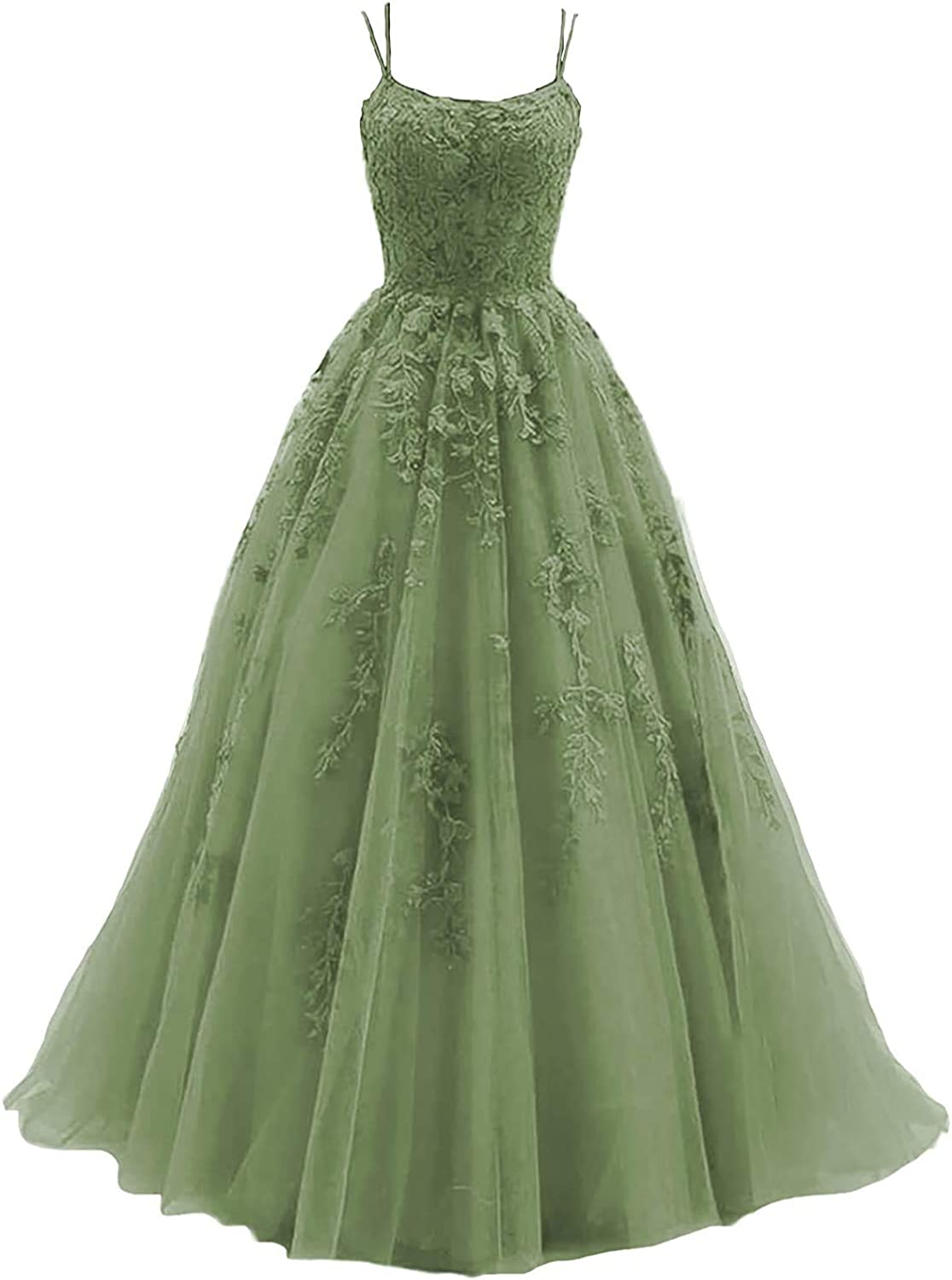Lace Appliques NEW before selling ☆ Bridesmaid Dresses Excellent Long Straps Tul 2021 Spaghetti