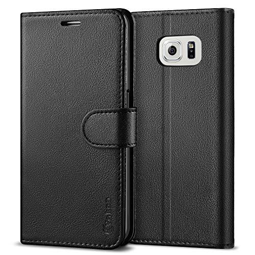 Vakoo PU-Leder Schutzhülle Kompatibel mit Samsung Galaxy S6 Hülle, Brieftasche Handyhülle für Samsung Galaxy S6 Tasche - Schwarz