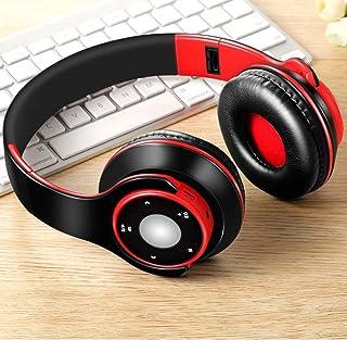 MDHANBK Auriculares estéreo inalámbricos Bluetooth Plegables, Auriculares internos, con micrófono y Tarjeta TF