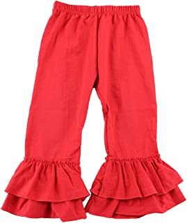 Wennikids Solid Color Knit Cotton Baby Girl Ruffle Pants