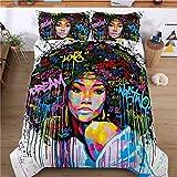 3Pcs African American Girl Bedding Set Twin, Black Girl Graffiti-Art Printed Comforter Set, Kids Quilt Set for Girls Bedroom Decor