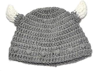 TOPofly Cap Horn Baby Bull Cuerno Hacer Punto Hechos a Mano Beanie Sombrero de Viking de Buey para Ni/ños Ni/ñas Gris por Conveniencia
