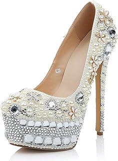 Women's High Heels Wedding Shoes, 16 cm High-Heeled Pearl Rhinestone Flowers Shallow Mouth Platform High Heels Comfortable Non-Abrasive Feet for Banquet Wedding Wear