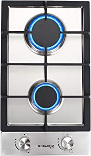 Gas Cooktop, Gasland chef GH30SF 12'' Built-in 2 Burner Gas Cooktops, Stainless Steel LPG Natural Gas Hob, 2 Burners 12 Inch Gas Stove Top, Thermocouple Protection