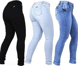 Kit 3 Calças Jeans Feminina Empina Bumbum Cós Alto