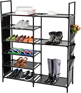 DazHom 6-Tier Shoe Rack, Non-Woven Fabric Shoe Storage Organizer,Stackable Shoe Tower Shoe Rack,Closet Portable Boot Organizer Shoe Racks Space Saving,Metal Durable Shelves Holds 20-25 Pairs,Black