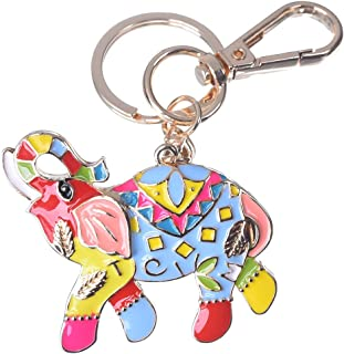 Women's Elephant Keychain Gold Plated Bag Charm Cute Car Key Ring Crystal Purse Pendant #5163