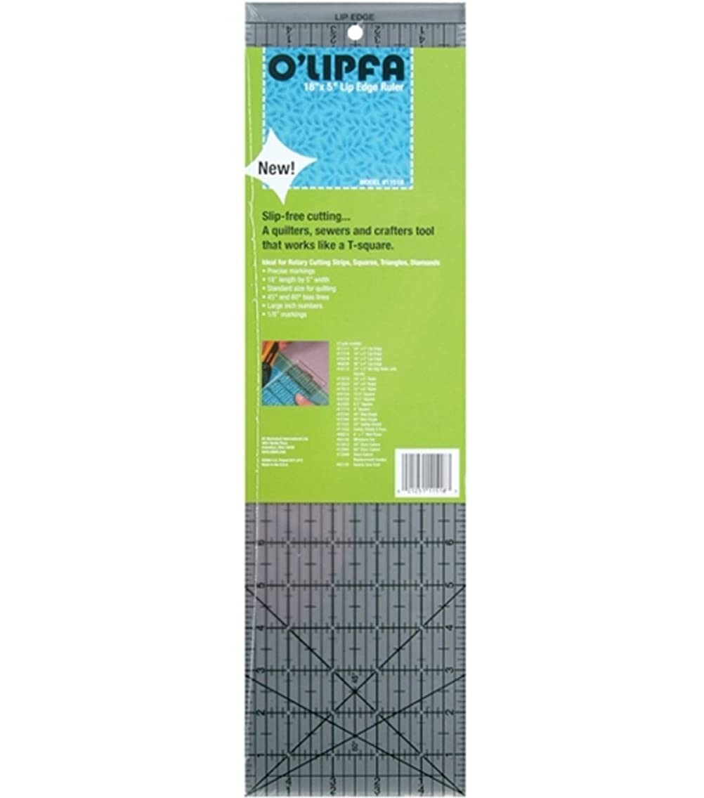 O'Lipfa 11518 Ruler with Lip Edge, 5 x 18-Inch