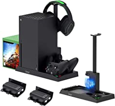 Vertical Cooling Stand for Xbox Series X Console - Dual Controller Charging Dock Station with 2 Pack 1400mAh Batteries & G...