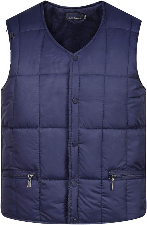 Men Down Cotton Vest Warm Sleeveless Jacket V-Neck Button Windproof Waistcoat NavyBlue 2XL