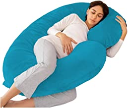 PUM PUM Pregnancy Pillow,Maternity Body Pillow with Pillow Cover,C Shaped Body Pillow for Pregnant Women,Turquoise Blue…