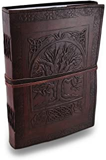 "Handmade Large 10"" Embossed Leather Journal Celtic Tree of Life Blank Personal Diary Notebook refillable Gift"