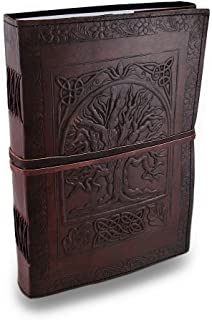 """Handmade Large 10"""" Embossed Leather Journal Celtic Tree of Life Blank Personal Diary Notebook refillable Gift"""