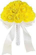Kriseraph-flower New Yellow White Blue Wedding Flowers Bridal Bouquets Handmade Artificial Rose Bridal Bouquet for Wedding Decoration,Yellow