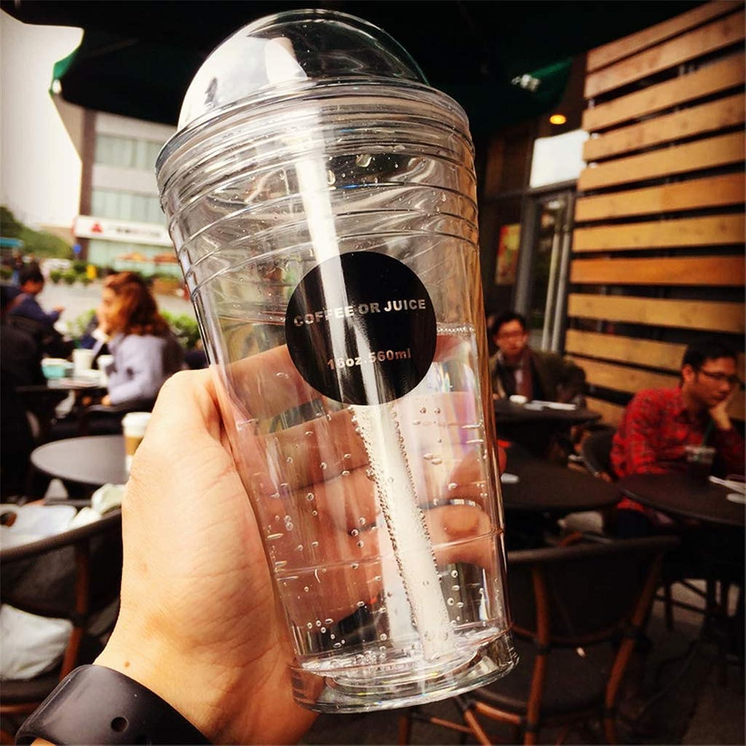 天国ハリケーン失速タピオカミルクティー専用カップ、二重構造漏れ防止マイタピオカカップ、こぼれない漏れないふた付 携帯透明感BPAフリー 320ml/420ml/520ml 5カラー,Clear,520ml