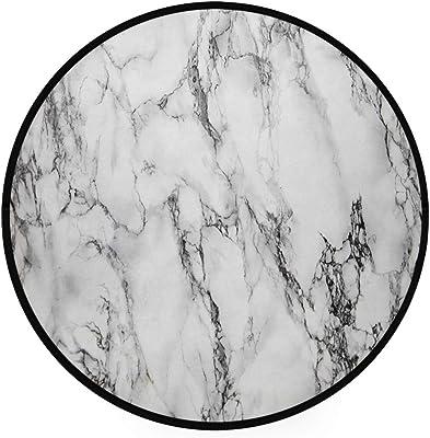 Tapis Rond Aquarelle à Motif de marbre pour Le Salon - Diamètre de la Chambre à Coucher: 92 cm
