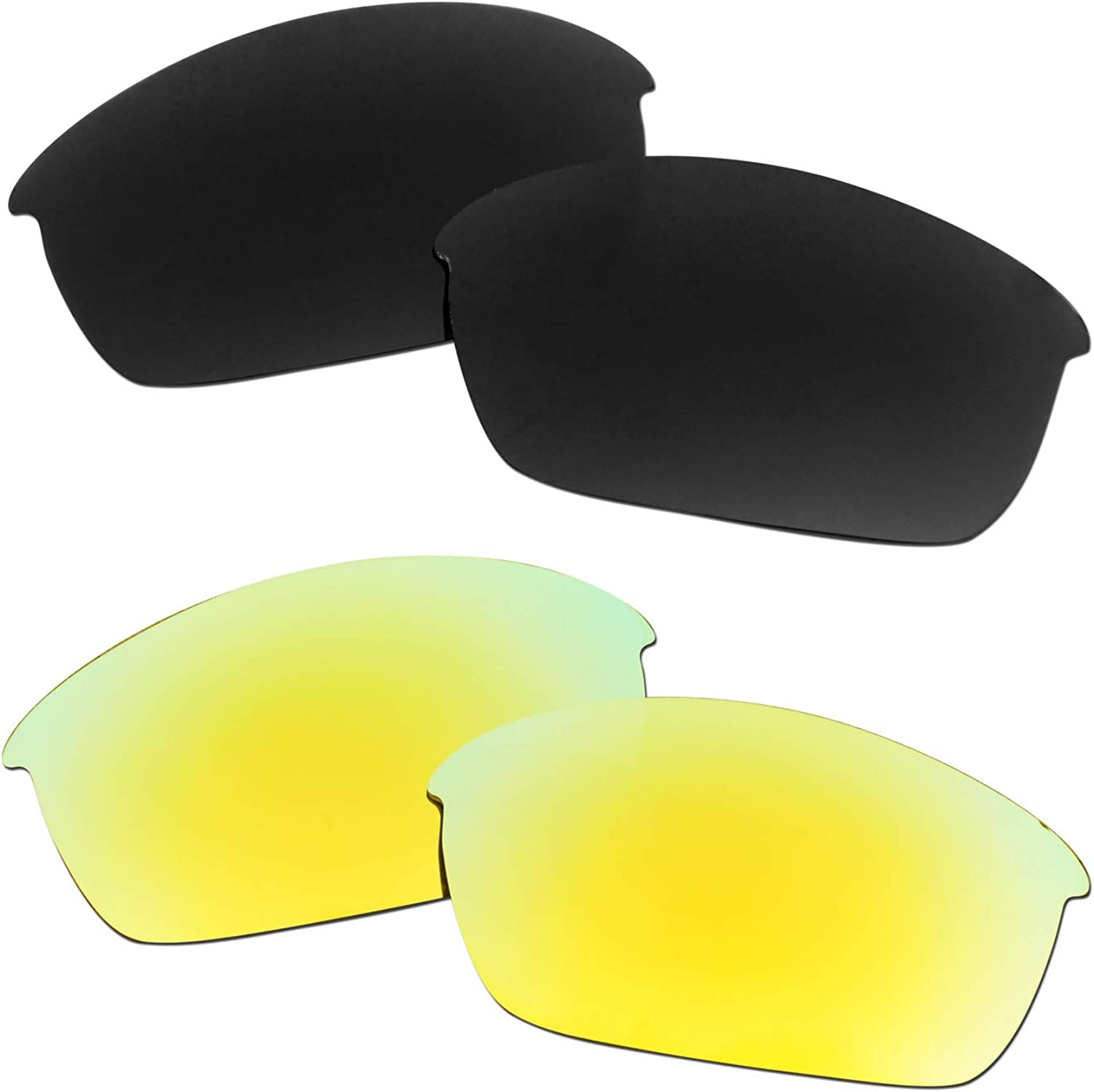 SOODASE For Oakley Flak Jacket Sunglasses 2 Pol Pairs Inventory cleanup selling sale Gold Fashionable Black