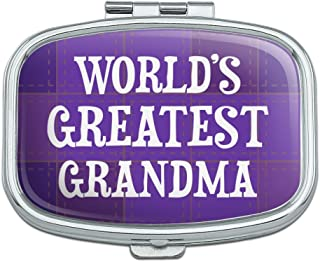 World's Greatest Grandma Grandmother Purple Rectangle Pill Case Trinket Gift Box