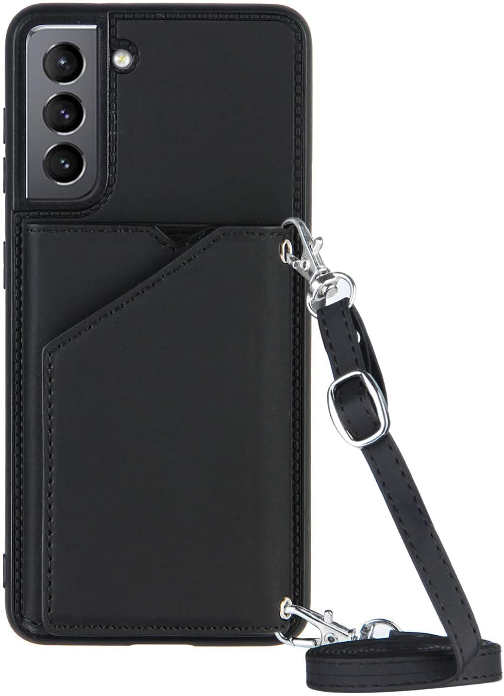 Galaxy S21 FE Wallet Case for Samsung S21 FE 5G Lanyard Case, Shockproof Stand Bumper Cover Cross-Body Girly Case, Shoulder Strap Shell (Black)