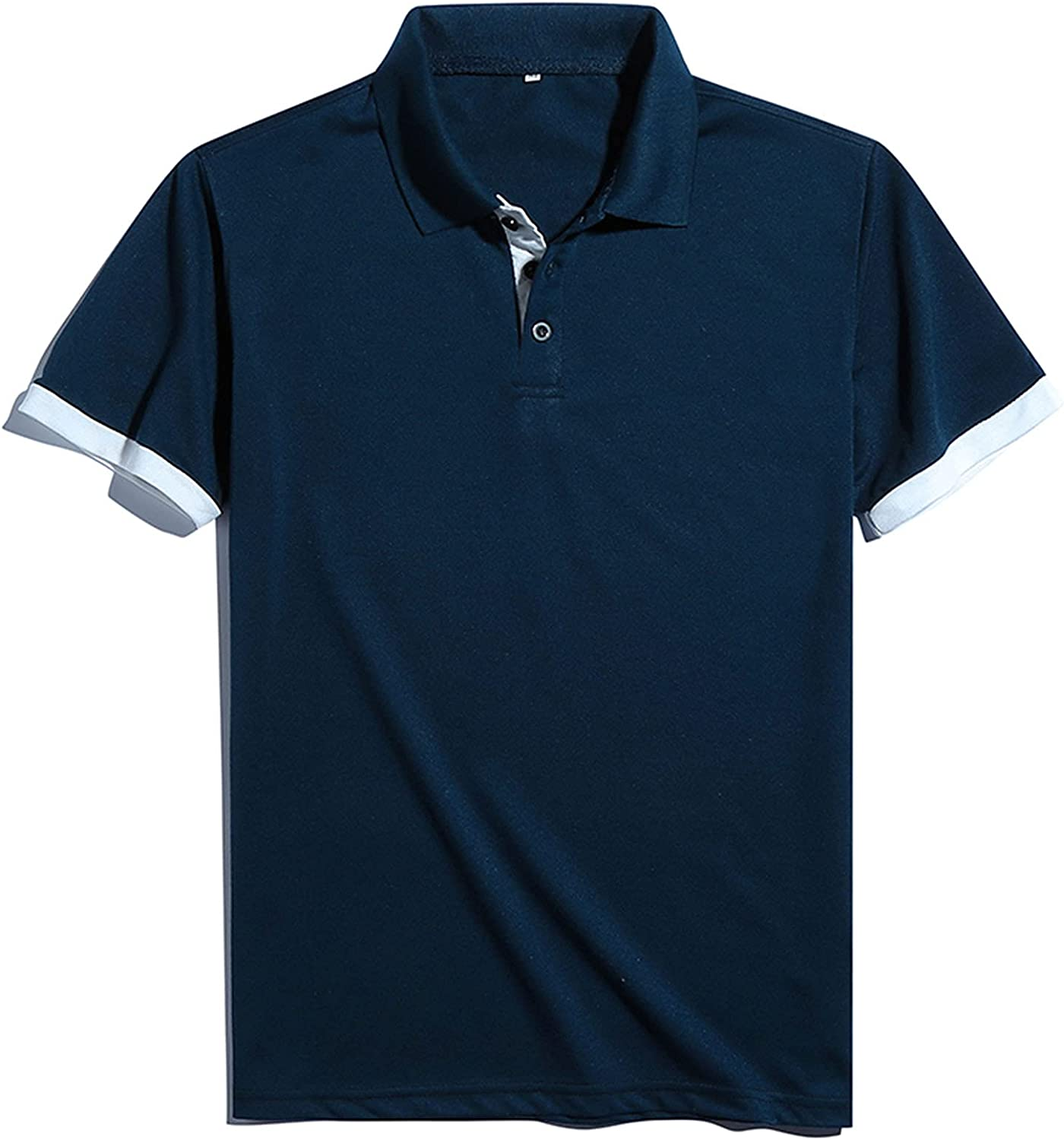 Maryia Mens Classic Polo Shirts Casual Short Sleeve Summer Lightweight Dry Fit Cotton Solid Stretch Tee Tops