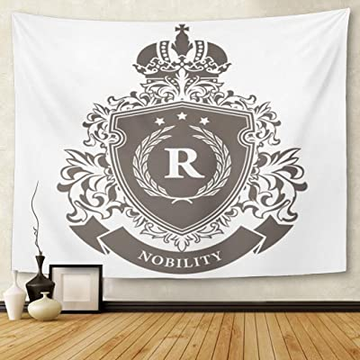 Berrykey Tapestry Crest Imperial of Arms Heraldic Royal Emblema Shield with Crown and Laurel Wreath Family Graphic Home Decor Wall Hanging for Living Room Bedroom Dormisette 50x 60Inches