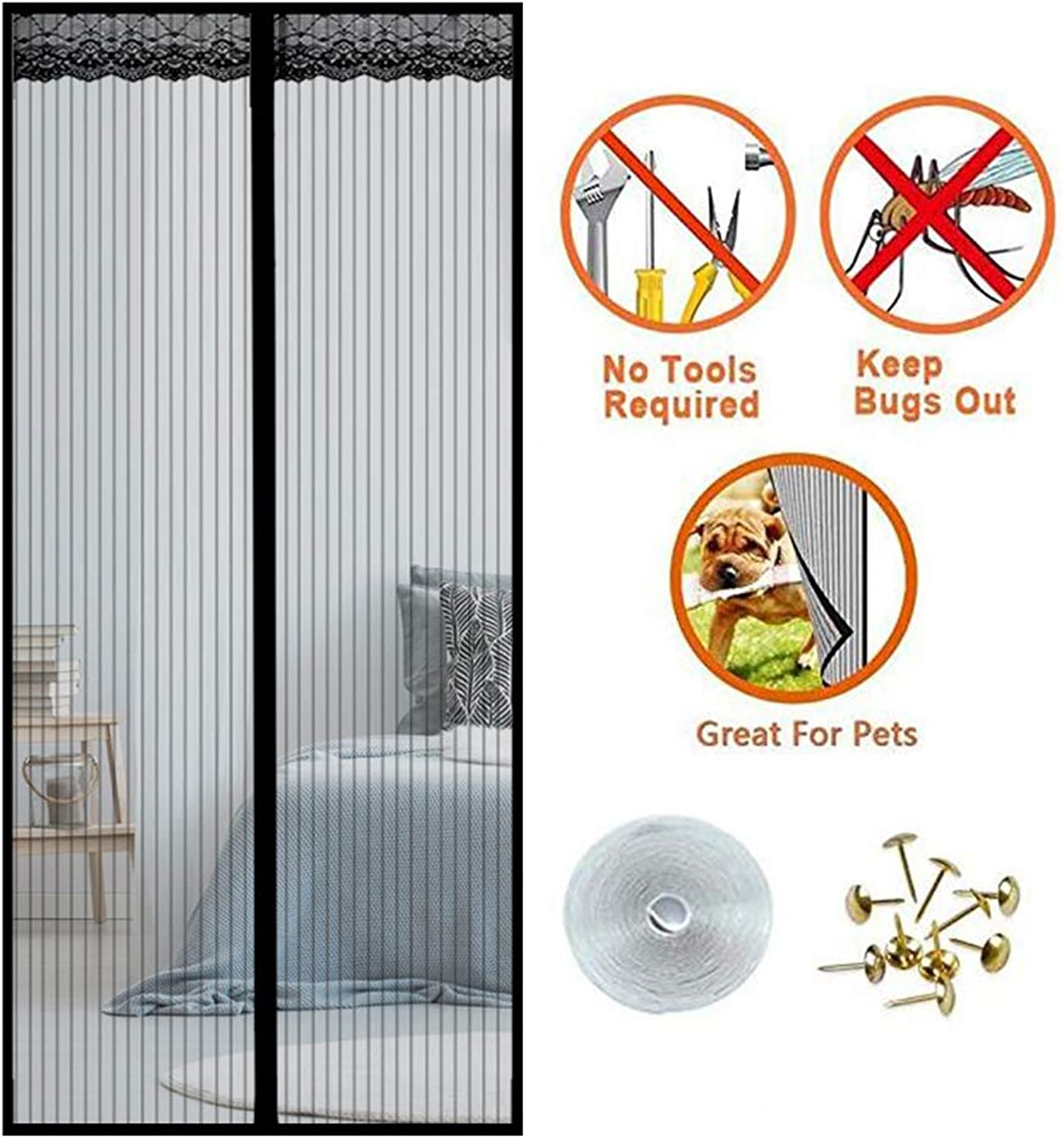 Heavy Duty Magnetic Fly Screen Door, 100x210cm Magnet Patio Mesh Curtain Full Frame Velcro Keep Fly Bug Mosquito Out,Black,180x240cm