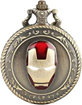 Cool Super Hero Iron Man 3D Helmet Pocket Watch for Boy Children Kids Men Gifts Necklace with Chain Pendant