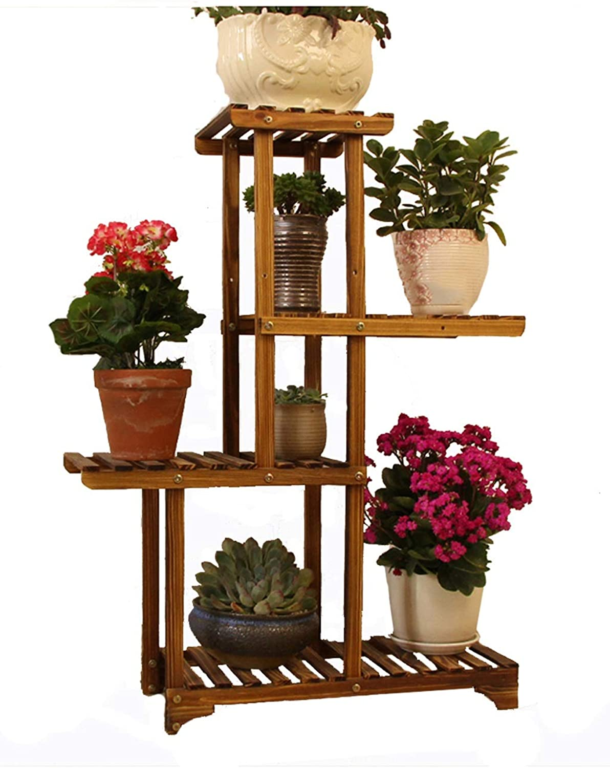 Flower Frame Solid Wood Multi-Storey Indoor Multi-Function Living Room Plant Potted Green Plant Balcony 4-Tier 55CM  25CM  87CM