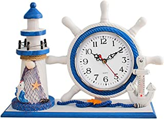 S.W.H Gummi kust bord klocka modern strand tema trä fyr tyst svepande klockor för heminredning Left Lighthouse