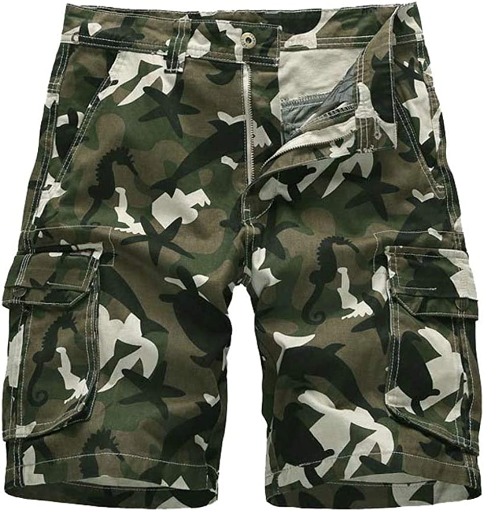 Ffox Mens Casual Cotton Camouflage Printed Multi-Pocket Cargo Shorts