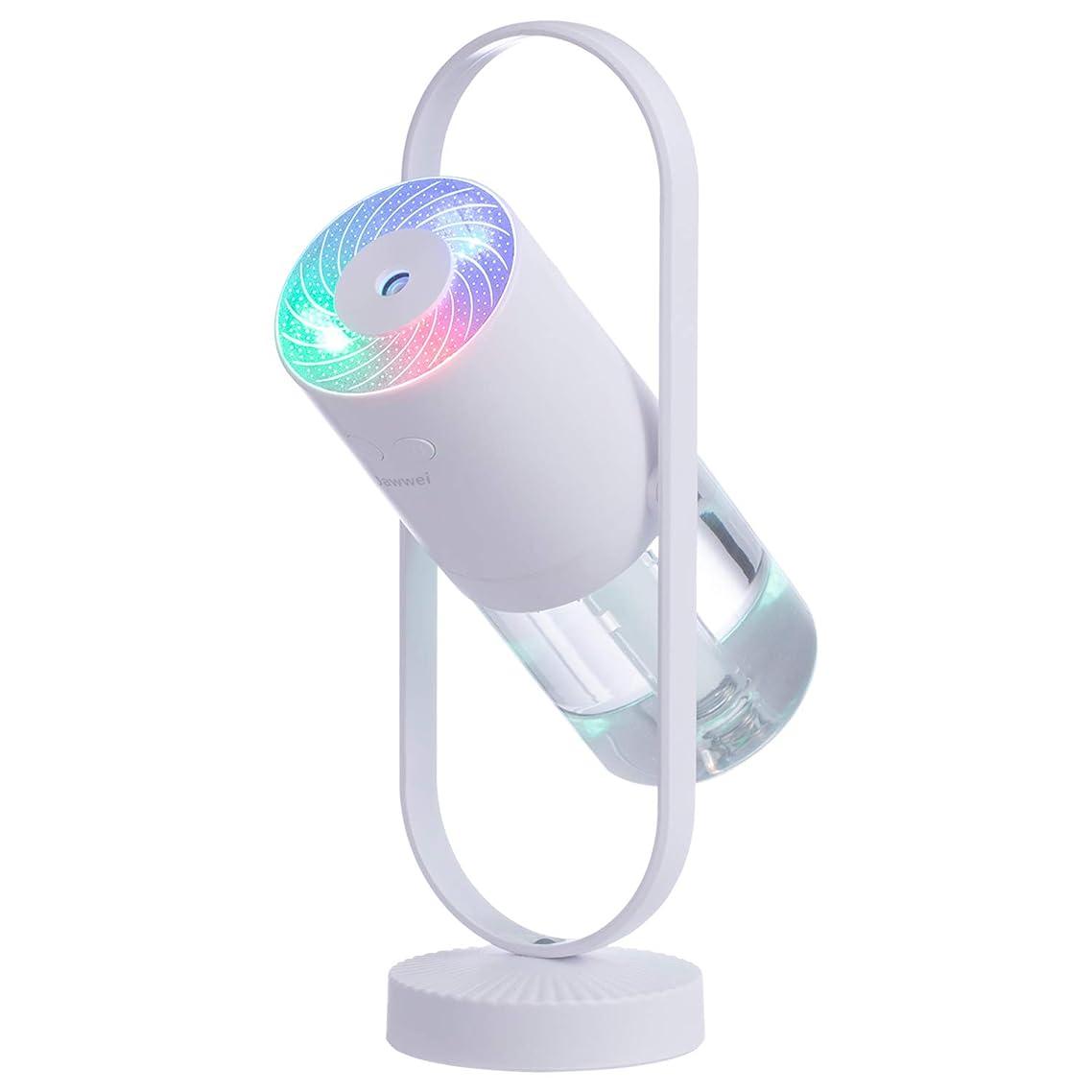 小石慰め補体Jawwei 加湿器 超音波式 持ち運び便利 ミニ加湿器 室内 車載用 USB給電 空気浄化機 七色LEDライト三つ綿棒付き