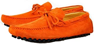 Cover Plus 9 Color Size 5-12 Genuine Suede Leather Moccasin Loafers Slip On Walking Flats Mens Shoes