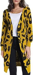 Women's Long Sleeve Open Front Leopard Print Knit Cardigan Sweater Outwear Coats