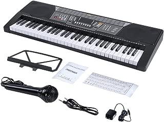 ADM 61 Key Electronic Keyboard Piano Beginner SuperKit with Microphone, Keyboard Sticker, Power Supply, Black
