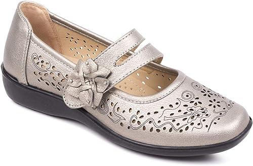 Chaussures à Lanière Scratch Femme Pieds Larges