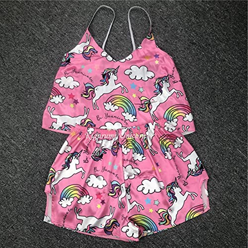 Pijamas de Unicornio Rosa para Mujer Seda Sexy Pijamas Girls Sleepwear S - 2XL Talla Grande Satén Traje de casa Pijama de Verano Femme V Cuello