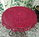 USTIDE New Burgandy 31.5'' Round Handmade Crochet Pineapple Flower Lace Tablecloth Doily