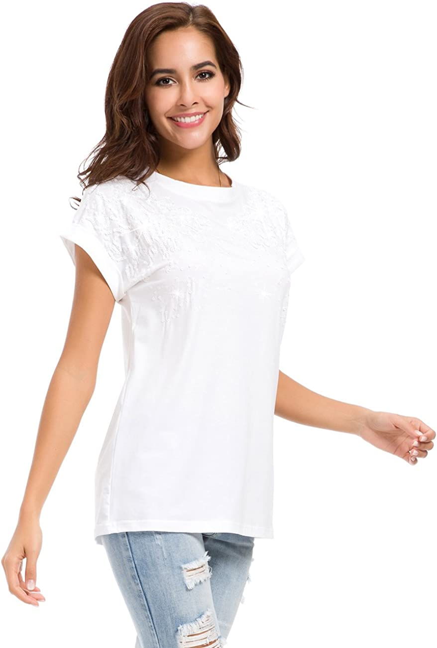 Women's Summer Cotton T-Shirts Casual Loose Fit Plain Tee Tops with Beads Piece