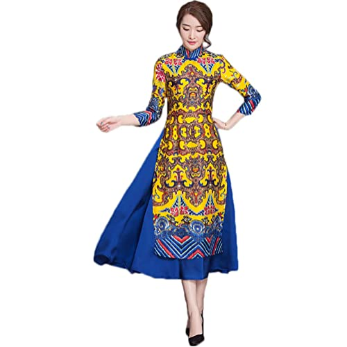 7b101a514a10 Soojun Women's Fashion Floral Printed Two Layered Cheongsam Dress with  Sleeves