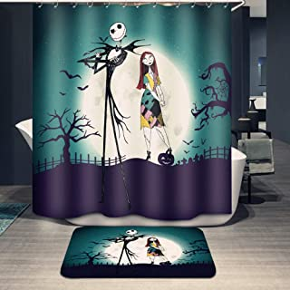 Youni Jack Skellington Shower Curtain Set with Bathroom Rug Pack of 2 Nightmare Before Christmas Jack 100% Microfiber Polyester with 12 Hooks,72Inch Blue