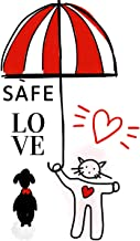 Safe Love Cat and Dog Journal. Under the Umbrella of My Love.: Stay Home Be Safe Fall in Love. Noteboo. Diary with Comic B...