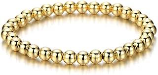COOLSTEELANDBEYOND Gold Color Beads Bracelet for Women Men