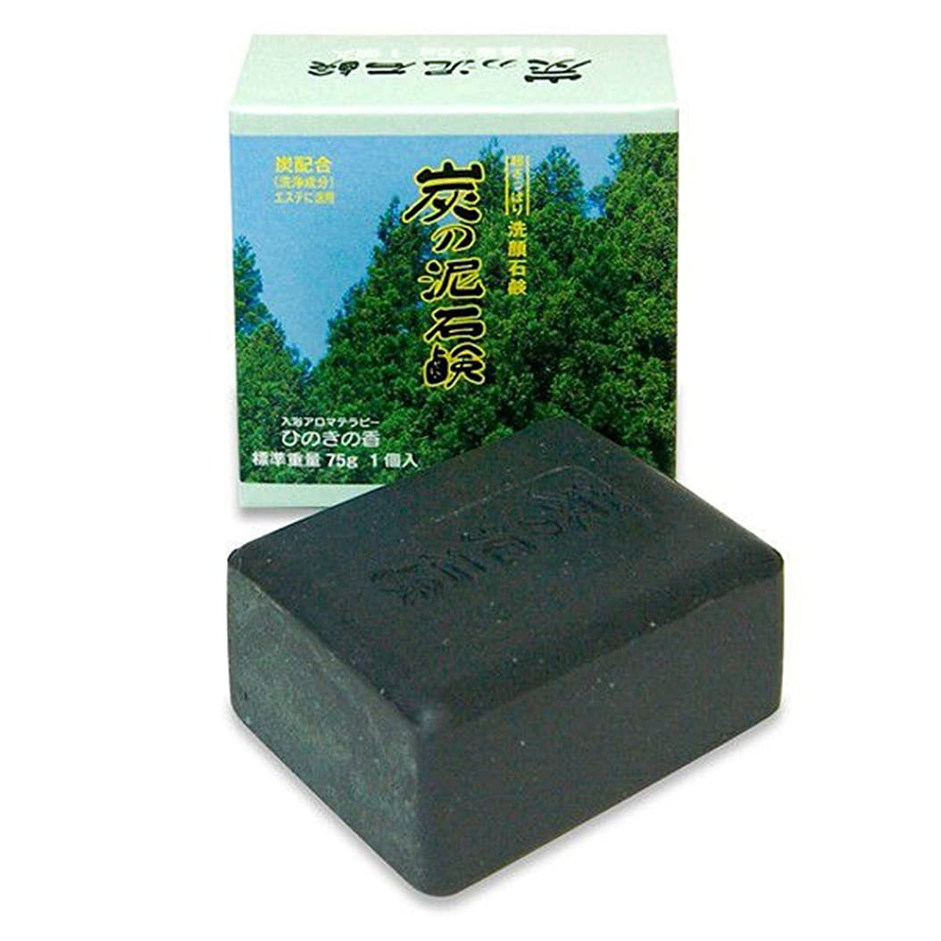 排出ラップトップ封建炭の泥石鹸 1個入り(入浴アロマテラピー ひのきの香 75g)
